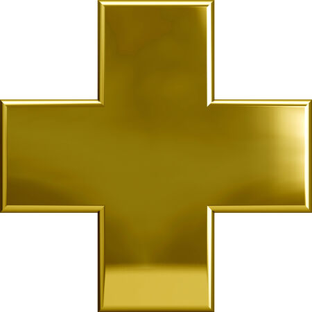 plus symbol: Gold metal plus cross symbol isolated on white Stock Photo