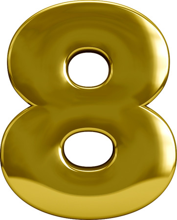 Gold number 8 (eight) golden character isolated on white Stock Photo
