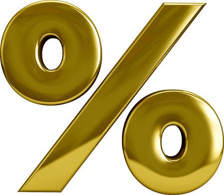 percentage sign: Gold metal percentage sign symbol isolated on white. Stock Photo