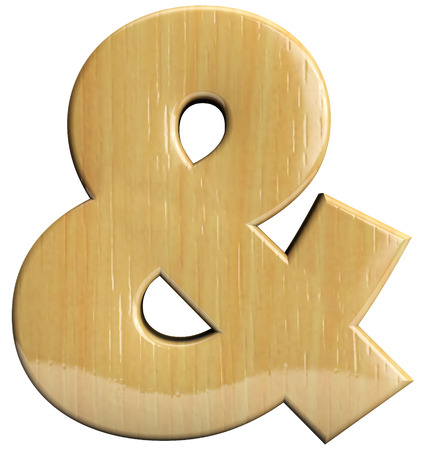 ampersand: Ampersand wooden symbol isolated on white. Stock Photo
