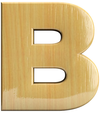 Wooden letter B. Wood character isolated on white Stock Photo