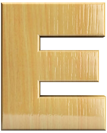 Wooden letter E. Wood character isolated on white