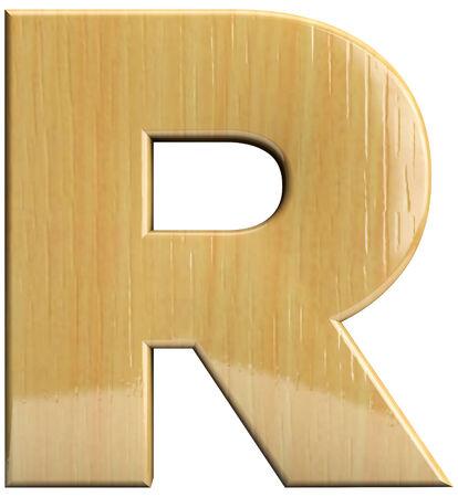 r image: Letra de madera car�cter R. Wood aislado en blanco