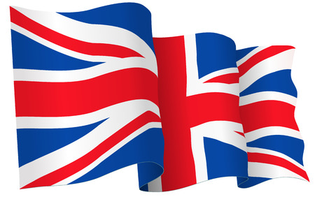 union jack: UK British flag waving - vector illustration isolated on white