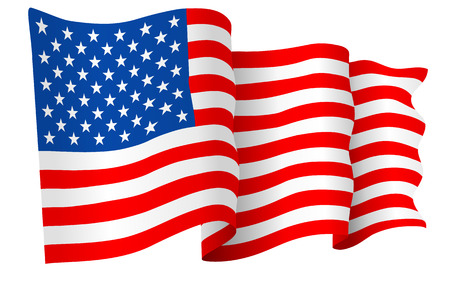 state government: USA American flag vector Illustration