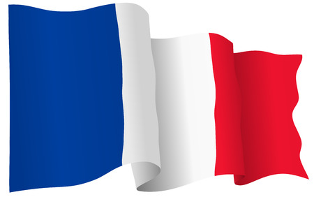 French flag waving isolated on white. Vector stock photo. Çizim