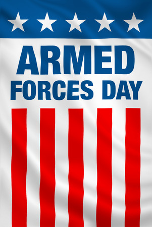 Armed Forces Day USA holiday vertical patriotic flag banner.