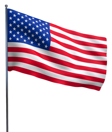 full day: USA American flag waving. Isolated on white background. Stock Photo