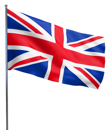British UK Union Jack flag waving. Isolated on white.