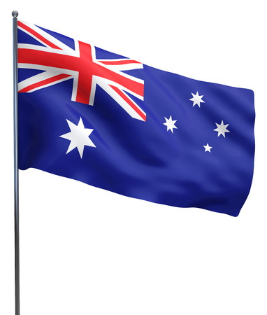 fluttering: Australoan flag fluttering and islated on white.