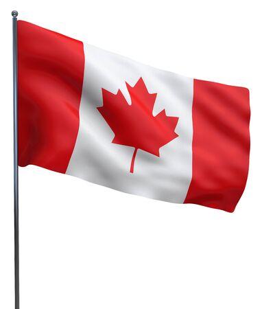 Canada flag waving isolated on white background.