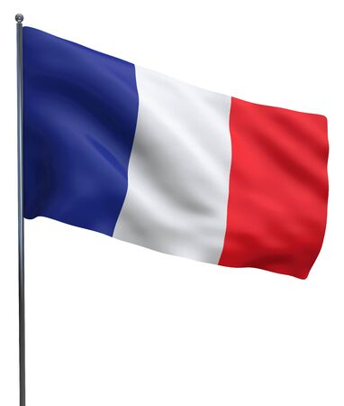 French flag of France waving and isolated on white.