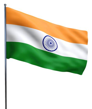 Indian flag fluttering isolated on white background.