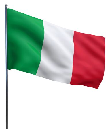 Italy flag waving and isolated on white. Stok Fotoğraf