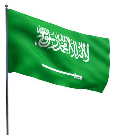Saudi Arabia flag waving and isolated on while.
