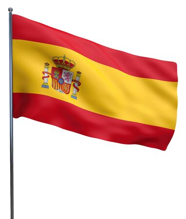 Spain flag waving and isolated on white.