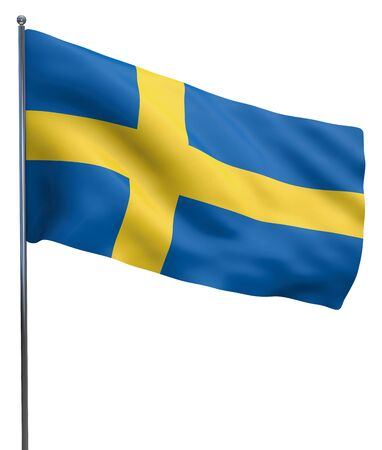 Sweden flag waving and isolated on white.
