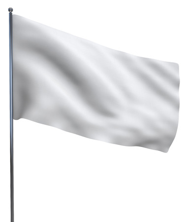 peace flag: White blank flag waving isolated on white background. Stock Photo