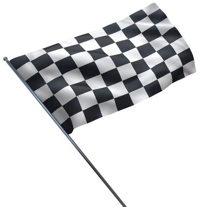 Racing chequered flag isolated on white. Including clipping path.