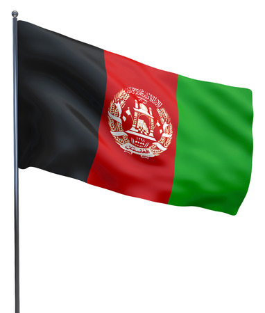 afghanistan: Afghanistan flag waving image isolated on white. Clipping path included.