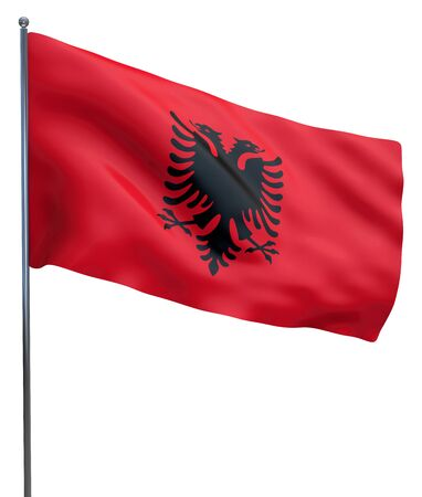 albanian: Albania flag waving image isolated on white. Clipping path included.