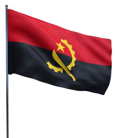 angola: Angola flag waving image isolated on white. Clipping path included. Stock Photo