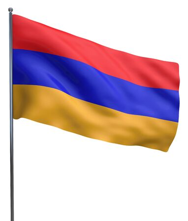 armenia: Armenia flag waving image isolated on white. Clipping path included. Stock Photo