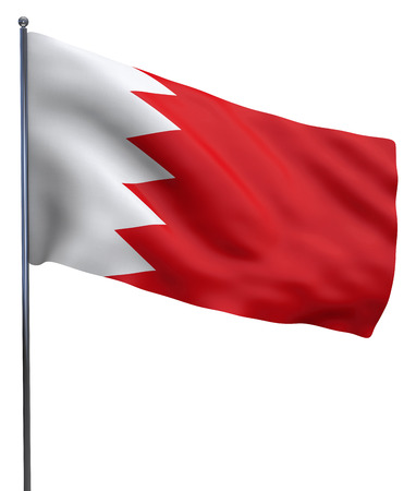 bahrain: Bahrain flag waving image isolated on white. Clipping path included. Stock Photo