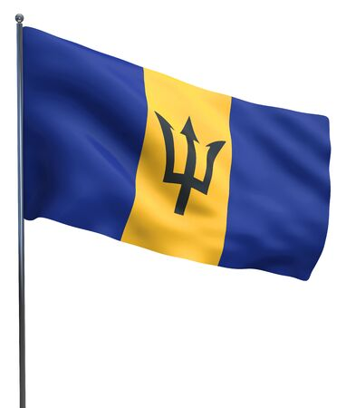 barbadian: Barbados flag waving image isolated on white. Clipping path included. Stock Photo