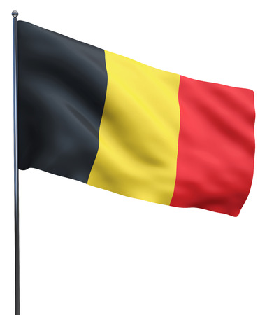 belgium flag: Belgium flag waving image isolated on white. Clipping path included.