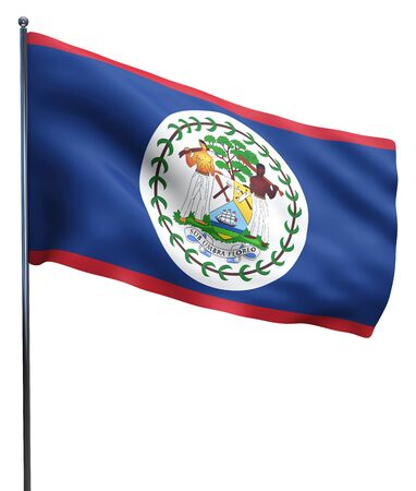 belize: Belize flag waving image isolated on white. Clipping path included.