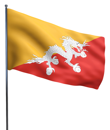 flutter: Bhutan flag waving image isolated on white. Clipping path included. Stock Photo
