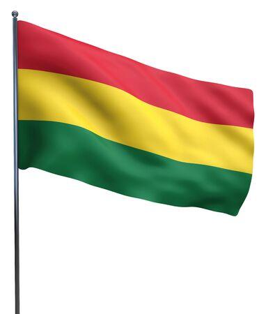 bandera de bolivia: Imagen de la bandera ondeando Bolivia aislado en blanco. Trazado de recorte incluido.