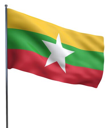 burmese: Burma flag waving image isolated on white. Clipping path included. Stock Photo