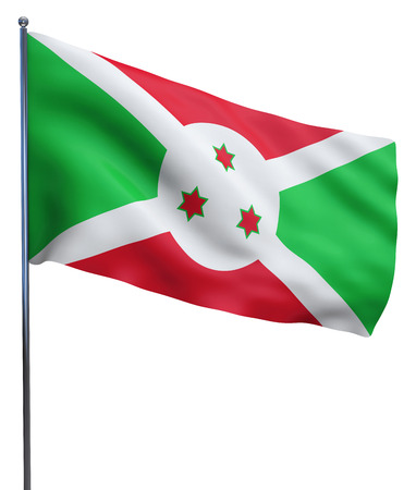 flutter: Burundi flag waving image isolated on white. Clipping path included.
