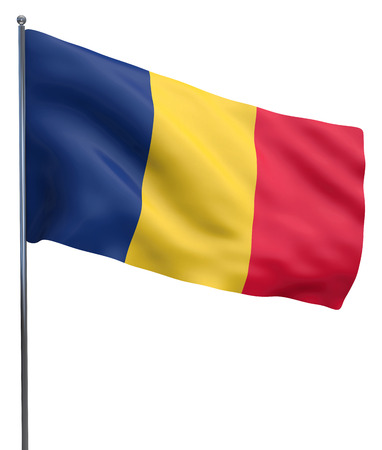 chad: Chad flag waving image isolated on white. Clipping path included.
