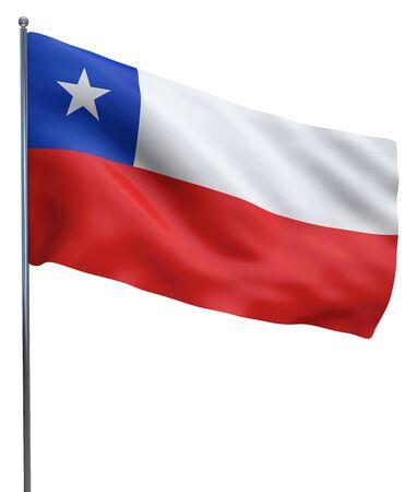 bandera de chile: Imagen de la bandera ondeando Chile aislado en blanco. Trazado de recorte incluido.
