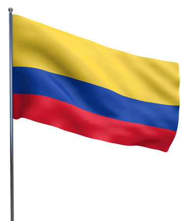 fluttering: Colombia flag waving image isolated on white. Clipping path included.