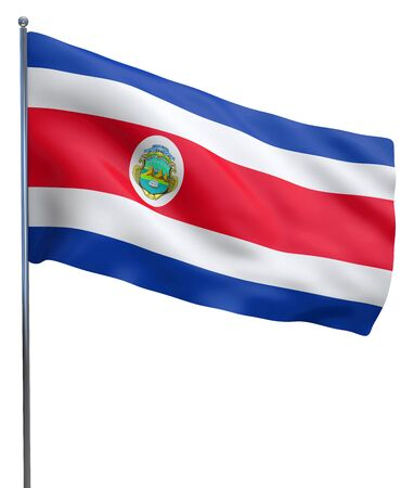 Costa Rica flag waving image isolated on white. Clipping path included.