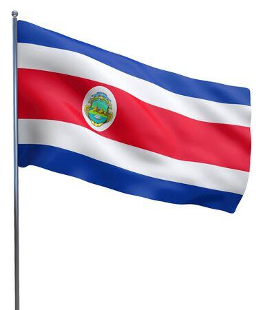 bandera de costa rica: Costa Rica imagen de la bandera ondeando aislados en blanco. Trazado de recorte incluido. Foto de archivo