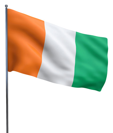Cote d'Ivoire Ivory Coast flag waving image isolated on white. Clipping path included.