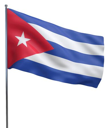 Cuba flag waving image isolated on white. Clipping path included. photo