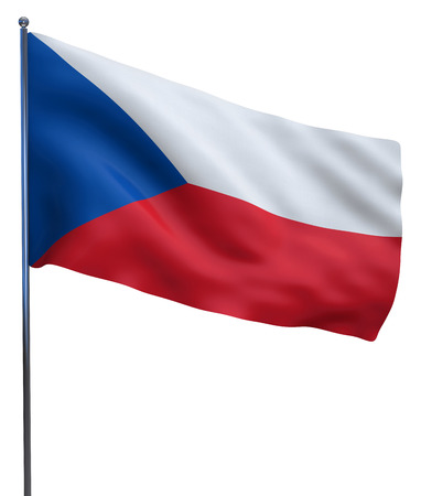 czech flag: Czech Republic flag waving image isolated on white. Clipping path included.