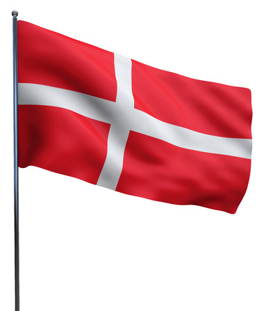 denmark flag: Denmark flag waving image isolated on white. Clipping path included.