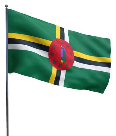 Dominica flag waving image isolated on white. Clipping path included. photo