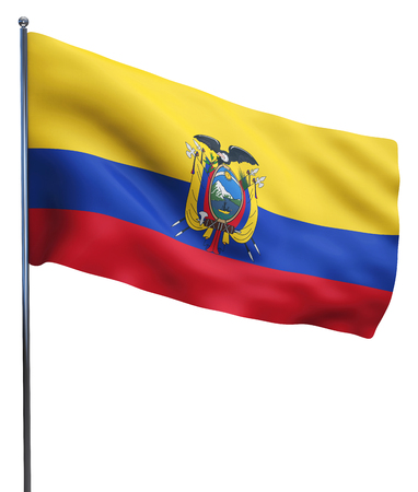 Ecuador flag waving image isolated on white. Clipping path included. photo