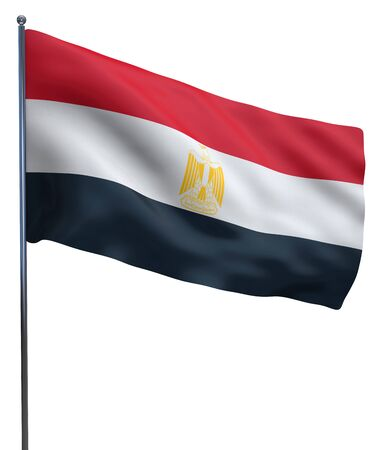 egypt flag: Egypt flag waving image isolated on white. Clipping path included.