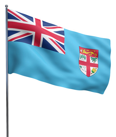 fijian: Fiji flag waving image isolated on white. Clipping path included.