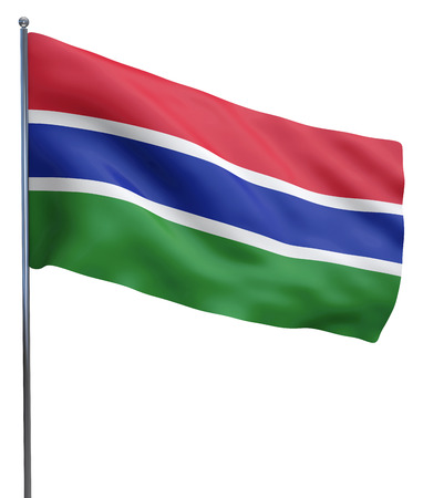 gambia: Gambia flag waving image isolated on white. Clipping path included.
