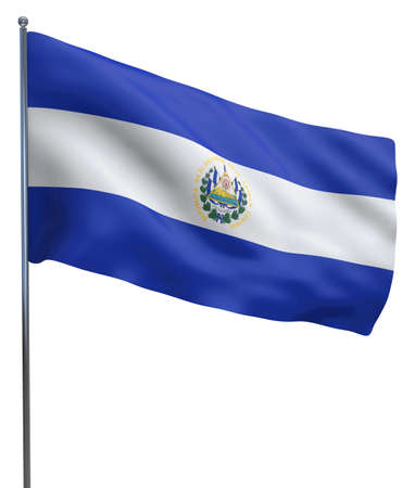 el salvador: El Salvador flag waving image isolated on white. Clipping path included. Stock Photo